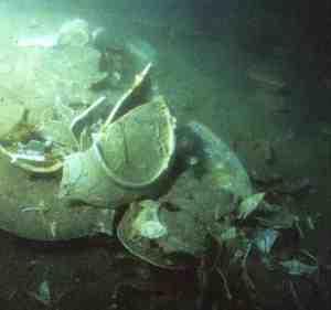 Chinese porcelain smashed by trawl nets on the Wanli shipwreck, c. 1625, Malaysia. Photo: © Sten Sjostrand.