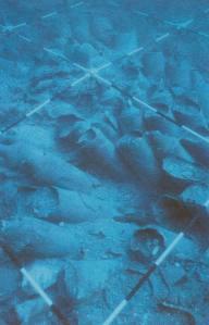 Amphora cargo on the Roman wreck at Grado, its necks cut off by trawler net gear. Photo: © Carlo Beltrame.