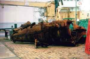 Stern of the English submarine HMS E-3, lost in 1914. Caught in a North Sea trawler net in 1990. Photo: © Nico Brinck.